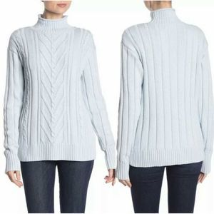 J.Crew Mock Neck Sweater Sky Blue Cable Knit P76